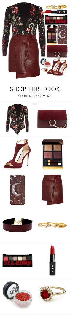"""""""Bodysuit Style"""" by mish-01 ❤ liked on Polyvore featuring River Island, Chloé, Jimmy Choo, Tom Ford, Isabel Marant, Vanessa Mooney, Diane Von Furstenberg and NYX"""