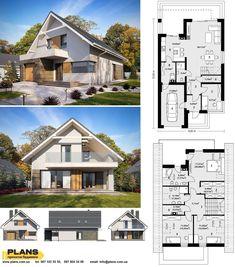 Model House Plan, My House Plans, Small Apartment Plans, Small Modern House Plans, German Houses, Villa Plan, Rest House, House Blueprints, Dream House Exterior