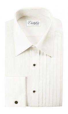 """Milan"" Ivory Laydown Tuxedo Shirt"