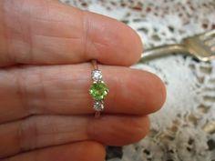 Dainty Sweet delicate Feminine Springtime Natural Peridot .30 carat August birthstone Daughters ring Womans ring