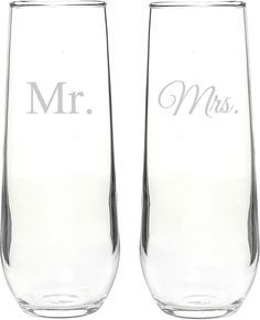 CATHYS CONCEPTS Mr. & Mrs. Set of 2 Champagne Toasting Flutes
