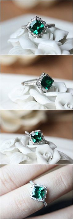 7mm Cushion Cut Emerald Engagement Ring / http://www.deerpearlflowers.com/inexpensive-engagement-rings-under-1000/2/