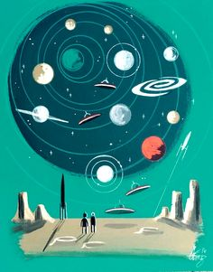 El gato gomez painting retro scifi pulp outer space robot flying saucer is part of Science Background Outer Space - Space Artwork, Space Photos, Cool Artwork, Science Background, Retro Background, Mid Century Modern Art, Mid Century Art, Beatrix Potter, Outer Space Facts
