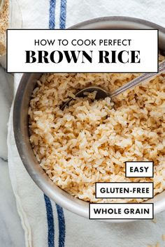 This stovetop brown rice recipe yields perfectly fluffy brown rice, every time, with any variety. You'll never want to cook brown rice any other way! #brownrice #ricerecipe #sidedish #wholegrains #cookieandkate Healthy Rice Recipes, Cooking Recipes, Easy Brown Rice Recipes, Brown Sticky Rice Recipe, Curry Recipes, Perfect Brown Rice, Best Brown Rice, Brown Rice Cooking, Crockpot Brown Rice