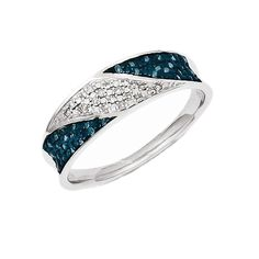 925 Rhodium Flashed Silver Round Prong Diamond and Blue Diamond Ring - (0.135cttw), Women's, Size: 7