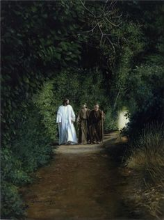 (Luke 24:13-16 )  On the Road to Emmaus:  Now that same day two of them were going to a village called Emmaus, about seven miles from Jerusalem. They were talking with each other about everything that had happened. As they talked and discussed these things with each other, Jesus himself came up and walked along with them; but they were kept from recognizing him.