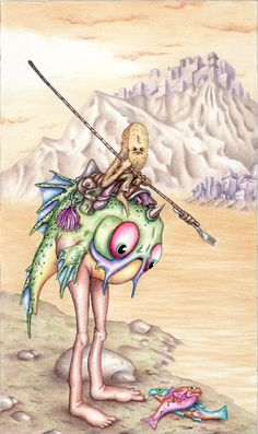 A cremefillian fisherpeep doing his thang atop a mutant land fish of remarkable size.