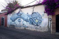 Street art on a cobbled street