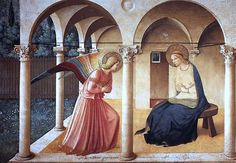 Annunciation, by Fra Angelico, - Early Italian Renaissance Renaissance Kunst, Die Renaissance, Renaissance Paintings, Italian Renaissance, Fra Angelico, Catholic Art, Religious Art, Religious Paintings, Blessed Virgin Mary
