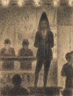 Georges Seurat, Trombonist (Study for Circus Side Show), Conté crayon with white chalk on laid paper, Philadelphia Museum of Art