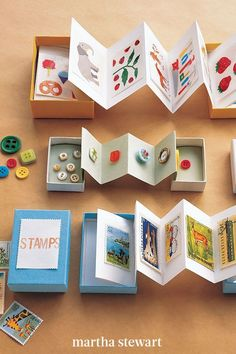 Collections are easy to enjoy and store when they're glued to folded pages in a box. Accordion-fold a strip of paper, and glue the first and last pages to the inside of the box's lid and bottom. You can fill pages with items like photos, birthday cards, or postcards. #marthastewart #crafts #diyideas #easycrafts #tutorials #hobby Easy Crafts, Diy And Crafts, Accordion Fold, School Scrapbook, Gifted Kids, Box With Lid, Projects For Kids, Creative Ideas, Postcards