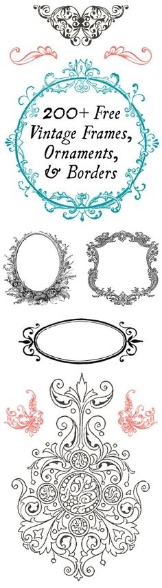 200  FREE Vintage Frames, Ornaments, and Borders  -  Perfect for DIY projects!!