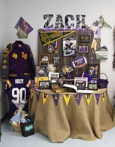 Display varsity jacket & shirt to the side. Name n pictures. Lots more great ideas