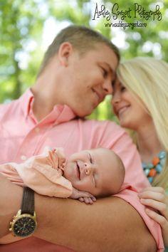Newborn family photo, sweet smile Ashley Sargent Photography