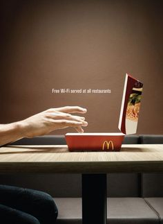 Creative, yet simple ad for Wi-Fi in McDonald's [ CaptainMarketing.com ] #advertising #online #marketing