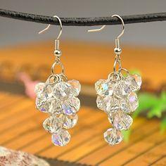 Fashion Glass Earrings, with Brass Earring Hooks, Clear, 52mm