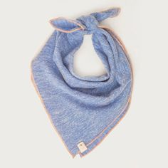 BODIE. Dog bandana or baby bib in blue and salmon pink. All sizes. Peach trim is so perfect on this soft knit dog scarf and baby scarf! $26.