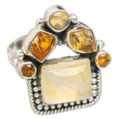 Yellow Moonstone, Citrine 925 Sterling Silver Ring Size 7 RING767598