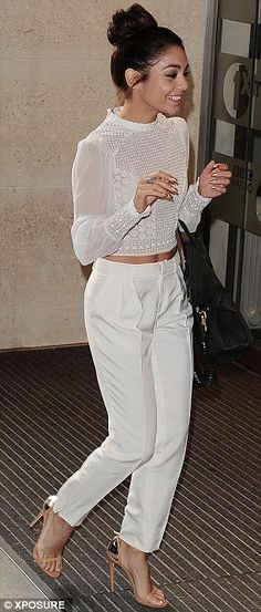 Vanessa Hudgens shows off her trim figure in cropped Tudor-inspired shirt as she starts promotional rounds | Mail Online