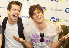 panic! at the disco with brendon urie and dallon weekes, they are so cute