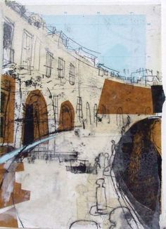 Lucy Jones - Coates Crescent with Map Sky, Edinburgh Collage with Monoprint and Wax 19 x Landscape Sketch, Urban Landscape, Landscape Art, Landscape Paintings, City Painting, Oil Painting Abstract, City Gallery, Abstract City, Kinetic Art