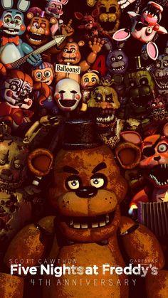 Five Nights at Freddy's 4 th Wallpaper – HHC Celebrity Five Nights At Freddy's, Freddy S, Little Misfortune, Fnaf Wallpapers, Fnaf Sl, Wallpaper Aesthetic, Fnaf Characters, Fnaf Drawings, Circus Baby