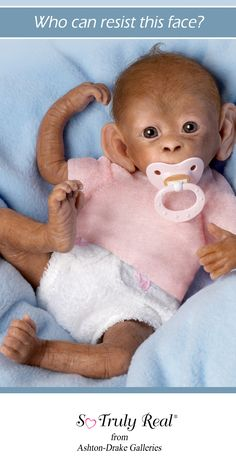 """Coco"" Poseable Lifelike Baby Monkey Doll By Linda Murray with Incredibly lifelike RealTouch® vinyl skin and hand-applied hair. From Ashton-Drake Galleries http://www.ashtondrake.com/products/301770001_lifelike-baby-monkey-doll.html love"