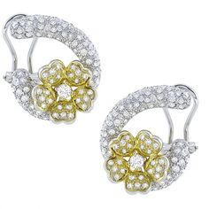 2.00ct Round Cut Diamond 18k White & Yellow Gold Floral Earrings - See more at: http://www.newyorkestatejewelry.com/earrings/estate--2.00ct-diamond--floral--earrings/24212/5/item#sthash.7lPvkvC8.dpuf
