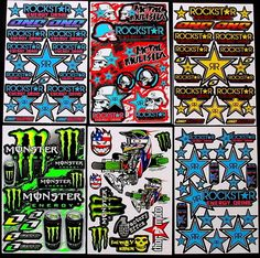 6 fantastic sheets kblue motocrosss stickers mx energy drink promo bike SCOOTER