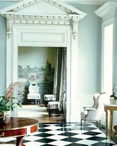 thefoodogatemyhomework:    Suzanne Kasler in Atlanta I think. I never tire of the images of this home. Also those mouldings and that pediment could kill someone (namely: me).            (via TumbleOn)