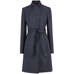 Karen Millen Tailored Trench Coat (€145) ❤ liked on Polyvore featuring outerwear, coats, coats & jackets, clearance, denim, tie belt, tailored coat, trench coat, long coat and long trench coat