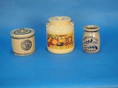 3 Stoneware Crocks, including 2 HJ Heinz. Stoneware Crocks, Apple Butter, Auction