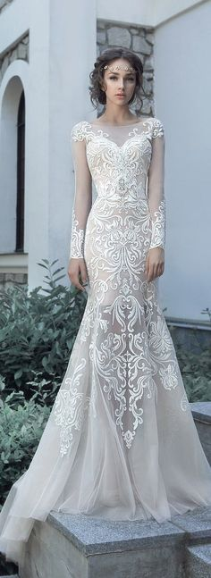 "Lace Wedding Dresses Milva 2017 Wedding Dresses – Sunrise Collection - Milva, a bridal house whose wedding dresses are designed with the elegant and classic bride in mind. The 2017 ""Sunrise"" bridal collection is gorgeous. Wedding 2017, Bridal Wedding Dresses, Dream Wedding Dresses, Wedding Attire, Wedding Bridesmaids, Bridesmaid Dresses, Lace Wedding, Modest Wedding, Mermaid Wedding"