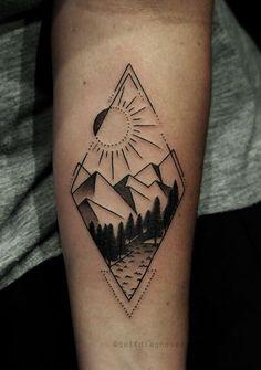 Men, geometric tattoo nature, geometric mountain tattoo, geometric tattoo d Natur Tattoos, Kunst Tattoos, Bild Tattoos, Body Art Tattoos, New Tattoos, Sleeve Tattoos, Tattoos For Guys, Tattoos For Women, Forearm Tattoos