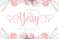 Yessy is a beautiful script font. It's full of glyphs andfeminine swashes which makes it perfect for any design that... Cool Fonts, New Fonts, Creative Fonts, Sans Serif, Police Script, Swirly Fonts, Font Digital, Web Design, Graphic Design
