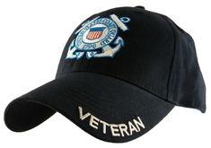 73c00981e7f5f7 U.S. Coast Guard Veteran Embroidered Seal Officially Licensed Military Hat  Ball Cap