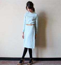 70s Sweater Dress  vintage pale pastel ice blue by factoryhandbook, $60.00