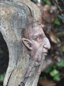 carved branch or tree trunk ~~♥~~He is watching and protecting the little Fairies. He warns them so they can hide from evil humans Tree People, Tree Faces, Tree Carving, Tree Sculpture, Driftwood Art, Green Man, Fairy Houses, Tree Art, Garden Art
