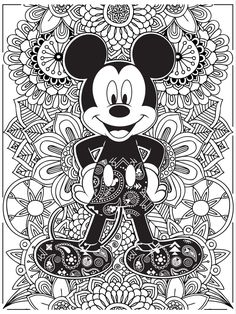 Celebrate National Coloring Book Day with Disney Style | Mickey Mouse coloring page | [ http://di.sn/6006B0K6k ]  Davlin Publishing #adultcoloring
