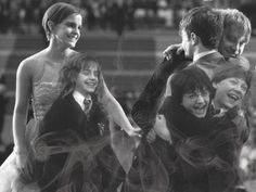 An adorable then & now collage. Harry Potter cast, the golden trio!
