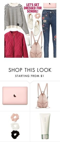 """School"" by beebeely-look ❤ liked on Polyvore featuring Rebecca Minkoff, Forever 21, SUQQU, BackToSchool, stripes, schoolstyle, sammydress and embroideredjeans"