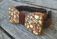 "Wooden bow tie, handpainted wooden bowtie, mens bow tie, womens bow ties, wood bowties ""Town"""