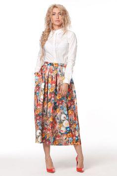 0951 Юбка цветы трикотаж миди встречные складки купить в Украине, цена в каталоге интернет-магазина брендовой одежды Musthave