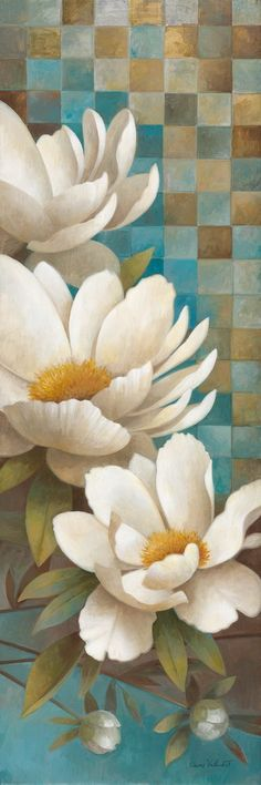Lily Reflection I by Elaine Vollherbst-Lane 12x36 in. Art Print Acrylic Painting Lessons, Tole Painting, Fabric Painting, Painting On Wood, Magnolias, Flower Images, Flower Art, Framed Prints, Art Prints
