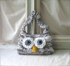 Hand Knit Owl Purse Custom Eye Color