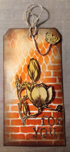 Distress Ink Pad with Tim Holtz's Stencils   and chocolate Baroque stamps CBCL0058  Magnolia ,  UDLSP0153  Just Butterflies