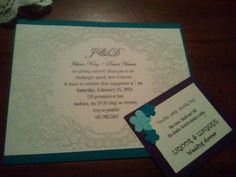 Engagement party invites: I printed these on resume paper and glued to cardstock. Papercutter, gluestick and alot of love <3
