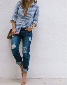 Striped button down (half tuck), distressed boyfriend jeans, ankle strap sandals and crossbody