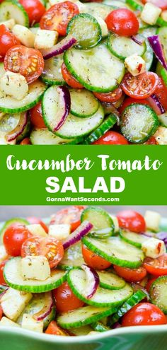 *NEW* Featuring a sweet and tangy balsamic vinaigrette with creamy, salty mozzarella bits, this easy Cucumber Tomato Salad knows how to steal the show! #CucumberTomatoSalad #Salad #SideDishes #Cucumber #Tomatoes Tomato Salad Recipes, Easy Salad Recipes, Easy Salads, Summer Salads, Side Dish Recipes, Vegetable Recipes, Healthy Recipes, Recipes For Cucumbers, Cucumber Recipes