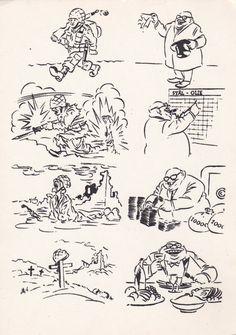 "Herluf Bidstrup ""At War and At Home"", Vintage Soviet Postcard (1964), Funny Comics Print, Anti-War Propaganda"